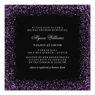 Ducha nupcial atractiva del confeti púrpura de invitación 13,3 cm x 13,3cm