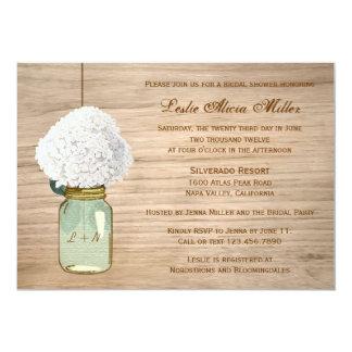 Ducha nupcial de albañil del país del Hydrangea Invitación 12,7 X 17,8 Cm