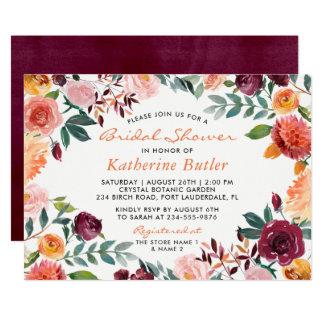 Ducha nupcial de la caída rosada anaranjada de las invitación 12,7 x 17,8 cm