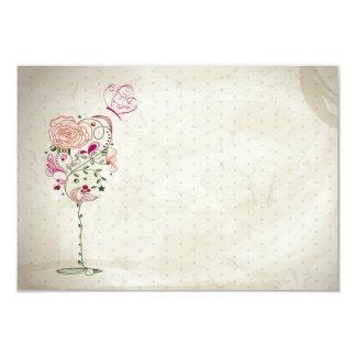 Ducha nupcial de la copa de vino del vintage invitación 8,9 x 12,7 cm