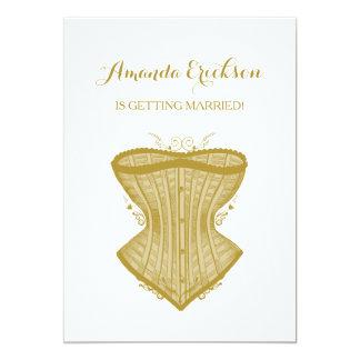 Ducha nupcial de la elegancia del oro de la ropa invitación 12,7 x 17,8 cm