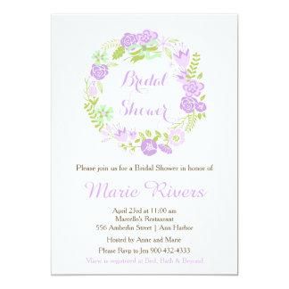 Ducha nupcial de la guirnalda floral púrpura invitación 12,7 x 17,8 cm