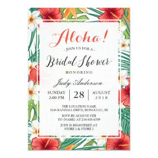 Ducha nupcial de la hawaiana hawaiana tropical del invitación 12,7 x 17,8 cm