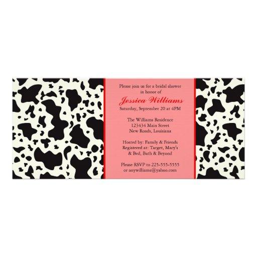 Ducha nupcial de la impresión roja de la vaca invitación