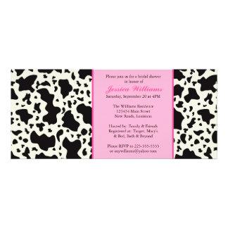 Ducha nupcial de la impresión rosada de la vaca invitacion personal