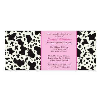 Ducha nupcial de la impresión rosada de la vaca invitación 10,1 x 23,5 cm
