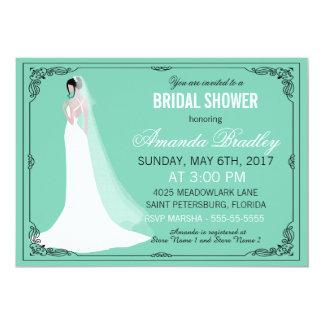 Ducha nupcial de la novia hermosa invitación 12,7 x 17,8 cm