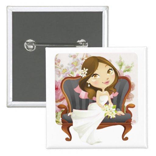 Ducha nupcial de la novia linda del dibujo animado pin