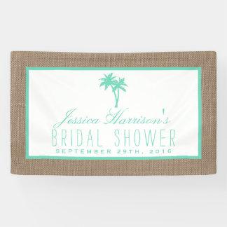 Ducha nupcial de la palmera de la playa tropical lona