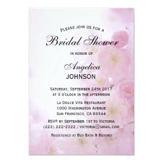 Ducha nupcial de la primavera de la flor de cerezo invitación 12,7 x 17,8 cm