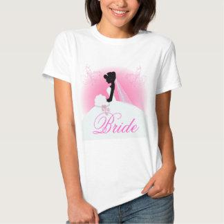 Ducha nupcial de la silueta elegante de la novia camisetas