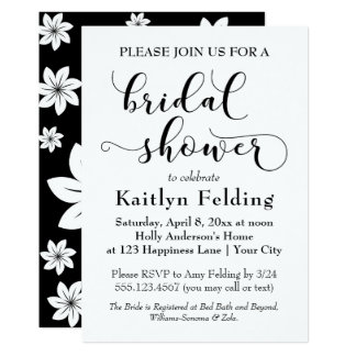 Ducha nupcial de la tipografía floral blanco y invitación 12,7 x 17,8 cm