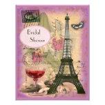 Ducha nupcial de la torre Eiffel elegante Comunicados Personalizados