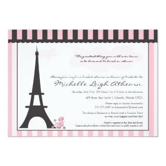 Ducha nupcial de la torre Eiffel y del caniche Invitación 12,7 X 17,8 Cm