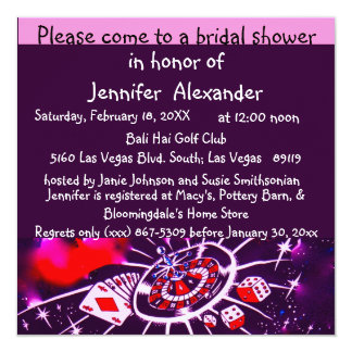 Ducha nupcial de Las Vegas Invitación 13,3 Cm X 13,3cm