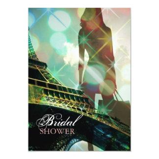 Ducha nupcial de París de la torre Eiffel moderna Invitación 12,7 X 17,8 Cm