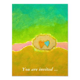Ducha nupcial del arte moderno del verano de la invitación 10,8 x 13,9 cm