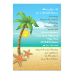 Ducha nupcial del boda de playa de la palmera y de comunicado personalizado