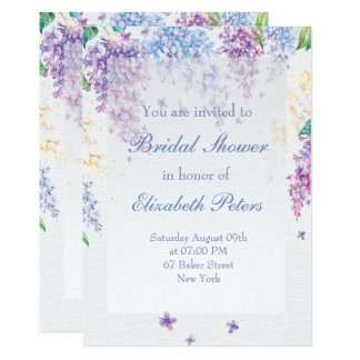 Ducha nupcial del boda Flor-Floral de la lila de Invitación 12,7 X 17,8 Cm