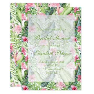 Ducha nupcial del boda tropical del flamenco de la invitación 12,7 x 17,8 cm