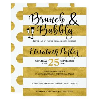 Ducha nupcial del brunch y del oro burbujeante de invitación 12,7 x 17,8 cm