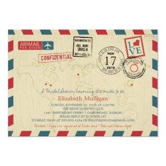 Ducha nupcial del correo aéreo el | del viajero de invitación 12,7 x 17,8 cm