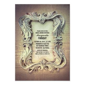 ducha nupcial del marco de madera rústico del invitación 12,7 x 17,8 cm