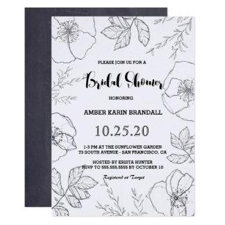 Ducha nupcial del marco floral botánico a mano invitación 12,7 x 17,8 cm