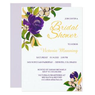 Ducha nupcial del oro del ramo violeta de la invitación 11,4 x 15,8 cm