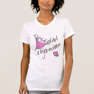Ducha nupcial del paraguas rosado camiseta