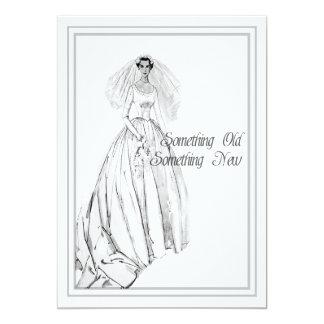 Ducha nupcial del vestido de boda del vintage algo invitación 12,7 x 17,8 cm