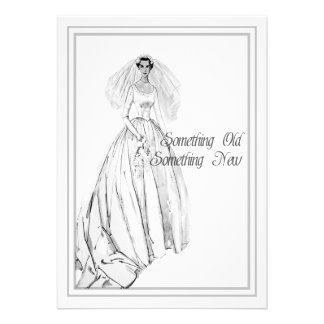 Ducha nupcial del vestido de boda del vintage algo invitacion personalizada