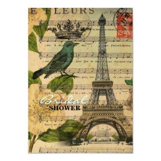 Ducha nupcial del vintage botánico de los pájaros invitación 11,4 x 15,8 cm