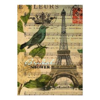 Ducha nupcial del vintage botánico de los pájaros invitacion personalizada