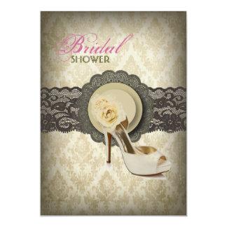 Ducha nupcial del vintage floral del damasco del invitación 12,7 x 17,8 cm