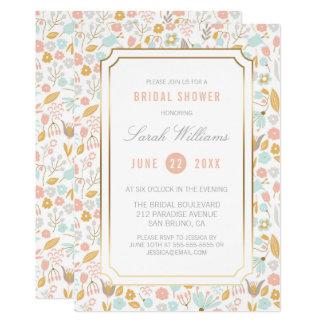 Ducha nupcial el | lindo, fondo floral elegante invitación 12,7 x 17,8 cm