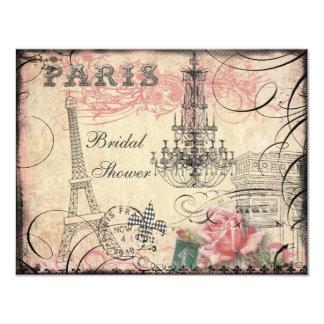 Ducha nupcial elegante de la torre Eiffel y de la Invitación 10,8 X 13,9 Cm