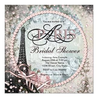 Ducha nupcial elegante de Shab París Invitación 13,3 Cm X 13,3cm