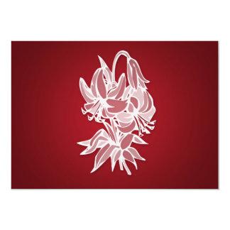 Ducha nupcial elegante del ramo rojo del lirio invitación 12,7 x 17,8 cm