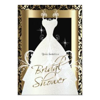 Ducha nupcial en damasco negro y oro metálico invitación 12,7 x 17,8 cm