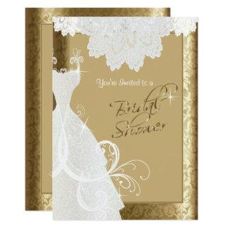 Ducha nupcial en damasco y cordón antiguos del oro invitación 12,7 x 17,8 cm