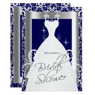 Ducha nupcial en damasco y plata de los azules invitación 12,7 x 17,8 cm