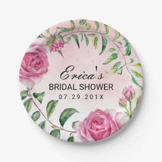 Ducha nupcial floral de la acuarela elegante plato de papel