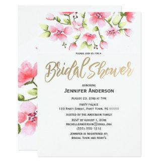 Ducha nupcial floral del capullo de rosa rosado invitación 12,7 x 17,8 cm