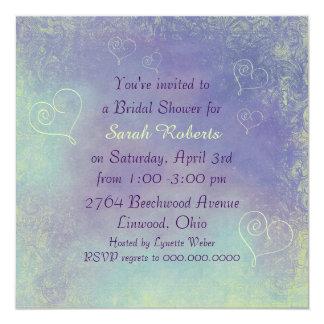 Ducha nupcial floral del corazón violeta invitación 13,3 cm x 13,3cm