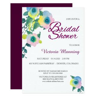 Ducha nupcial floral del guisante de olor violeta invitación 11,4 x 15,8 cm