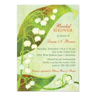 Ducha nupcial floral del lirio de los valles verde invitación 12,7 x 17,8 cm