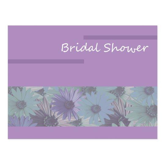 ¡ducha nupcial! floral púrpura postal