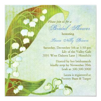 Ducha nupcial floral verde del lirio de los valles invitación 13,3 cm x 13,3cm