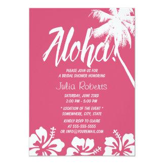 Ducha nupcial hawaiana del hibisco y de la palmera invitación 12,7 x 17,8 cm